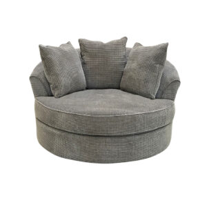 swivel base loop nest chair in comfy and cozy grey fabric