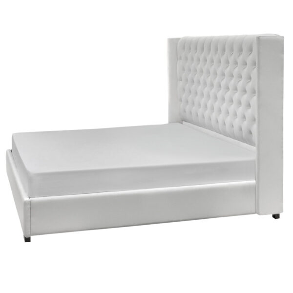 elite deisgns panama upholstered bed from side angle with wing detail