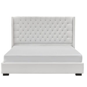 white fabric on panama upholstered bed with platform base