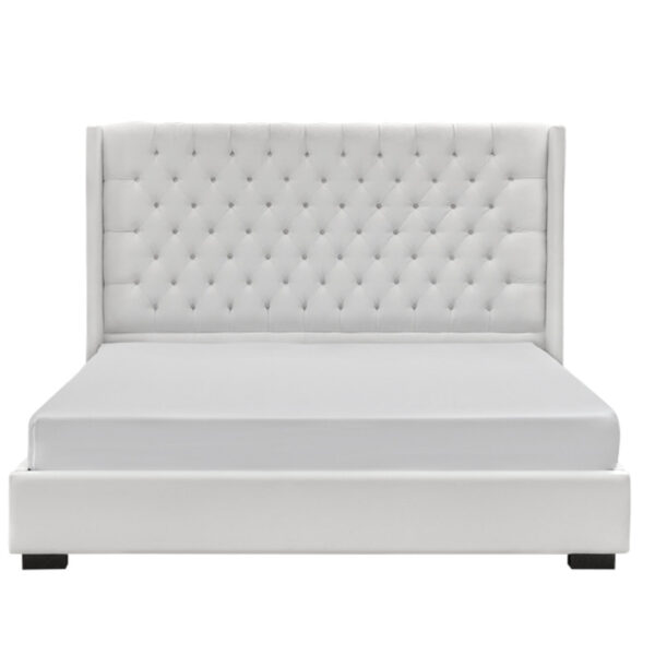 white fabric on panama upholstered bed with platform base