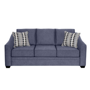 canadian made fraser sofa shown in cleanable blue and navy fabric