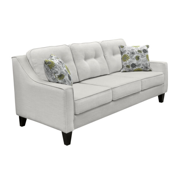 made in canada hilton sofa with sloped arms and tufted back