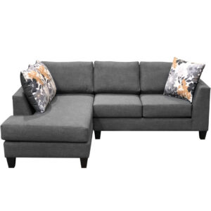 Canadian made lisa sectional in modern custom grey fabric