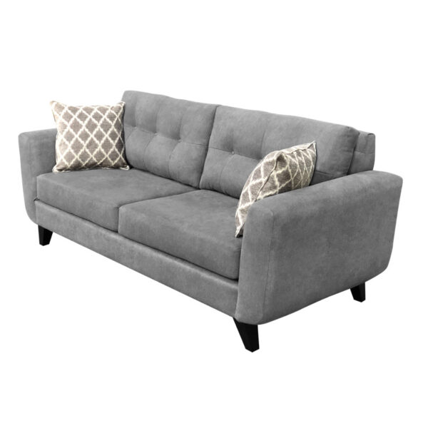 tilbury sofa from and angle in grey fabric with toss pillows