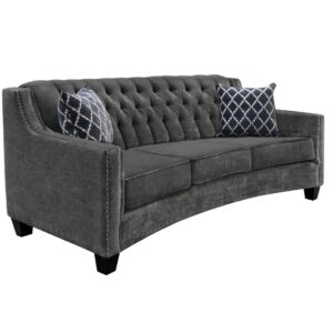 traditional vogue sofa with curved back custom built in grey fabric