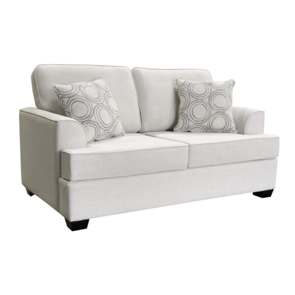 denver love seat in custom size with white fabric option