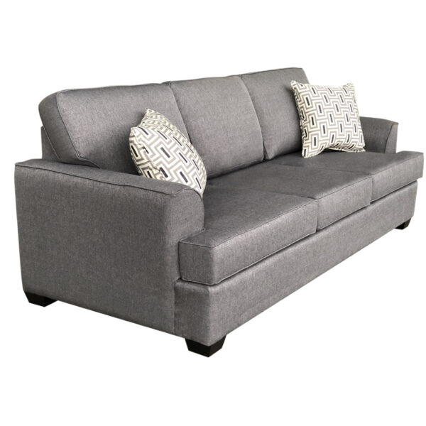 denver sofa in custom fabric option shown from side angle