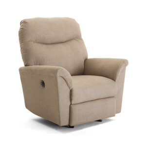 caitlin recliner with power recliner in plush fabric with custom recliner