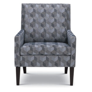 fron view of leigha chair in modern geometric fabric with narrow square arms