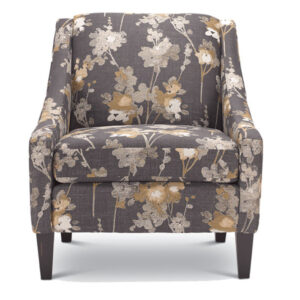 custom built regan chair with modern floral upholstery