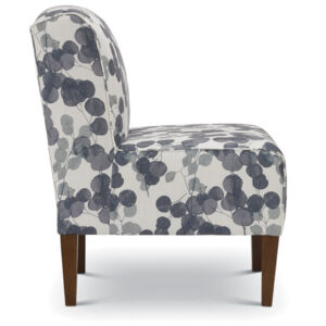 rolan slip chair in contemporary floral fabric shown from side