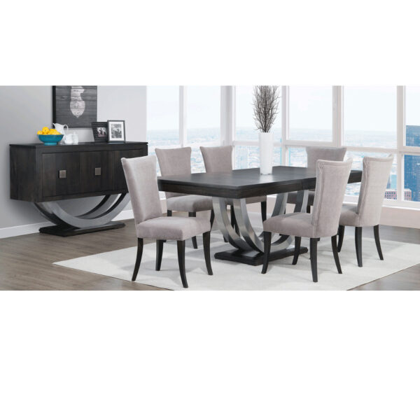 contempo metal dining suite, rustic dining tables, solid wood dining tables, dining tables with leaves, metal base table, extension table, handstone, handstone furniture, edmonton furniture store, edmonton furniture stores