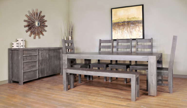 rustic dining room furniture, rustic table, solid wood table, canadian made table, modern farmhouse, edmonton furniture stores,