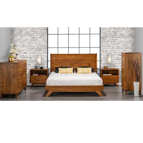 mid century modern handstone tribeca bedroom in light rustic wood finish