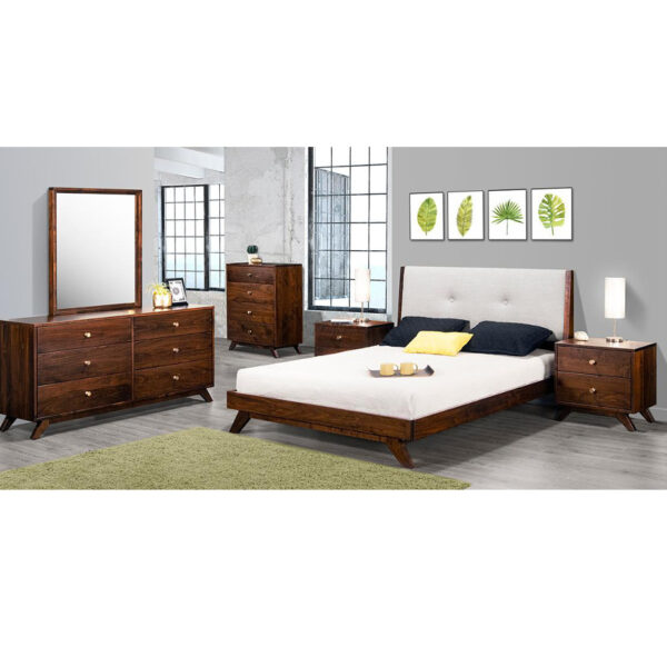 mid century modern bedroom furniture, upholstered bed, made in canada furniture, solid wood furniture, modern bedroom furniture, furniture store, edmonton furniture store, edmonton furniture stores, tribeca bedroom