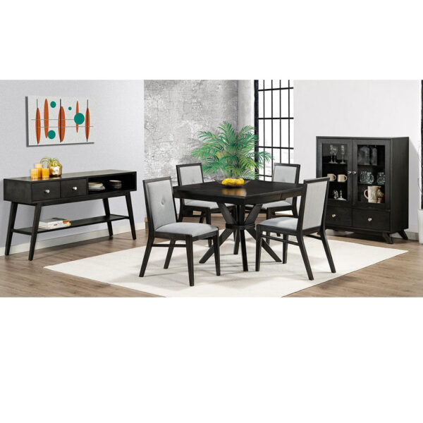 square tribeca table in dining room setting with chairs and display cabinets