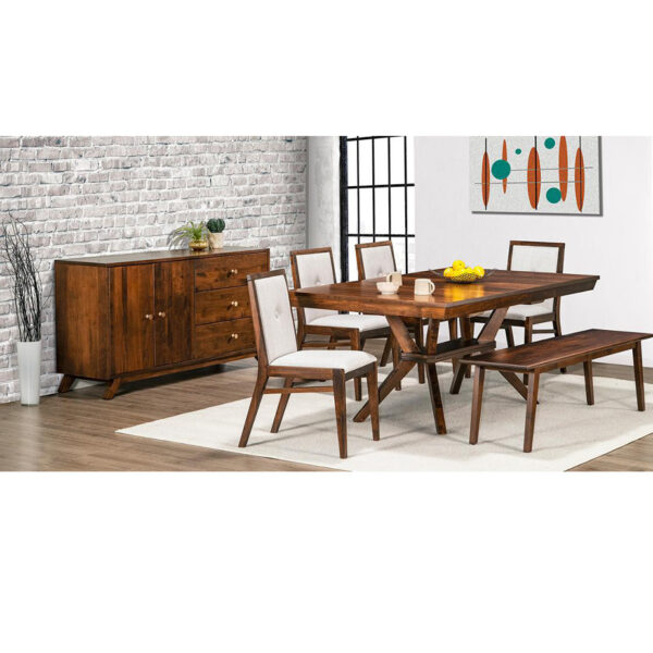 canadian made tribeca dining room setting with solid wood table, chairs and sideboard