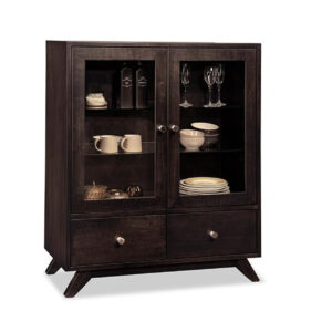handstone tribeca display cabinet in solid wood with dark custom finishing