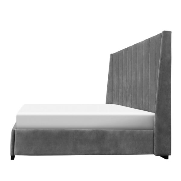 horizons bed, upholstered bed, fabric bed, master bedroom, custom fabric bed, modern fabric bed, platform fabric bed, edmonton furniture store, The Row Bed