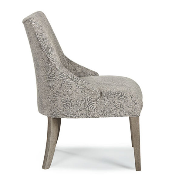 elie dining chair with modern desn back and wood legs in custom fabric