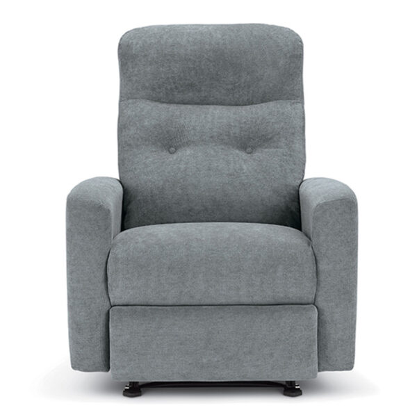 luli recliner in custom fabric shown from front