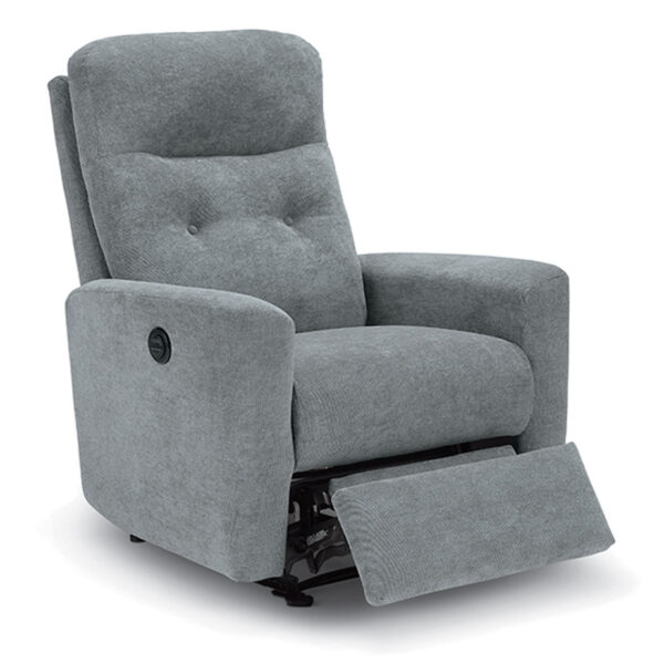 power recline luli recliner in grey fabric with footrest extended