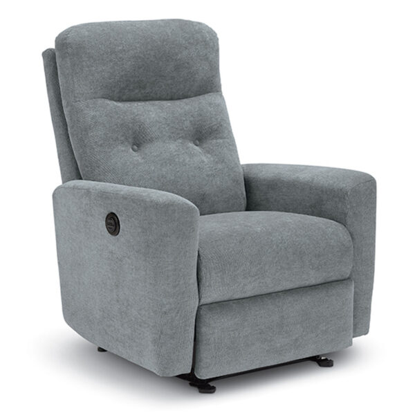 condo sized luli recliner with power recline in custom grey fabric