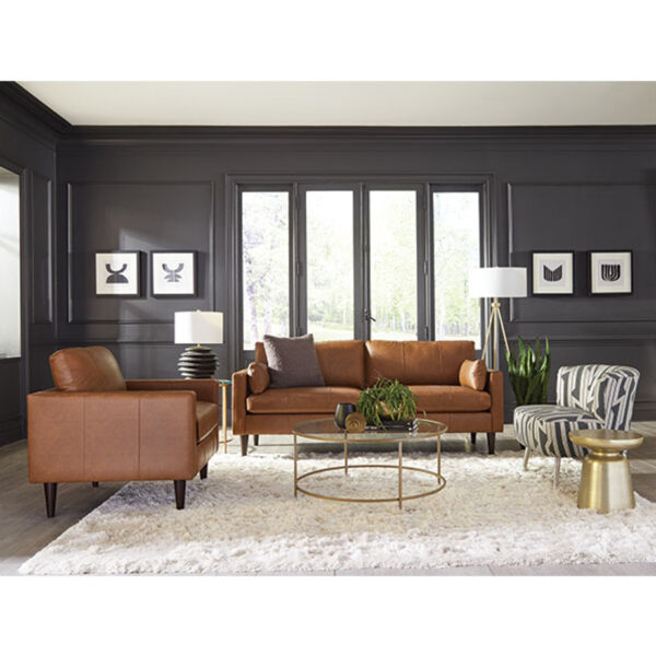 modern trafton sofa and chair in room setting with top grain leather