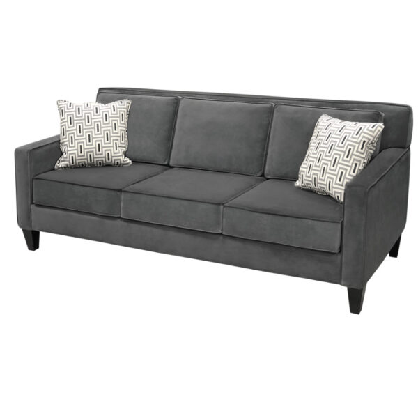bellevue sofa in custom fabric options with dark grey upholstery