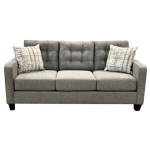 caddy sofa with tufted back in modern custom upholstery shown from the front