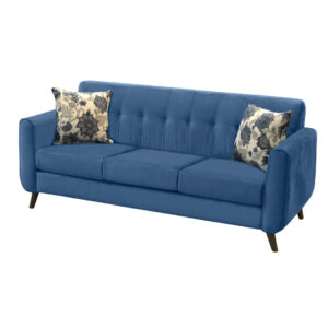 canadian made century sofa with mid century modern styling and classic blue fabric