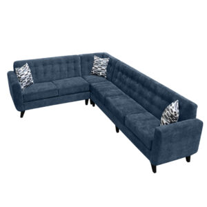 canadian made kitsilano sectional with tufted back in rich navy blue fabric