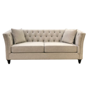 front view of canadian made lexi sofa with traditional style deep tufted back