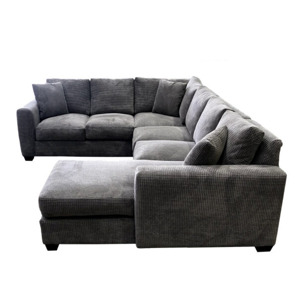 deep frame memories sectional in comfy fabric with chaise seat