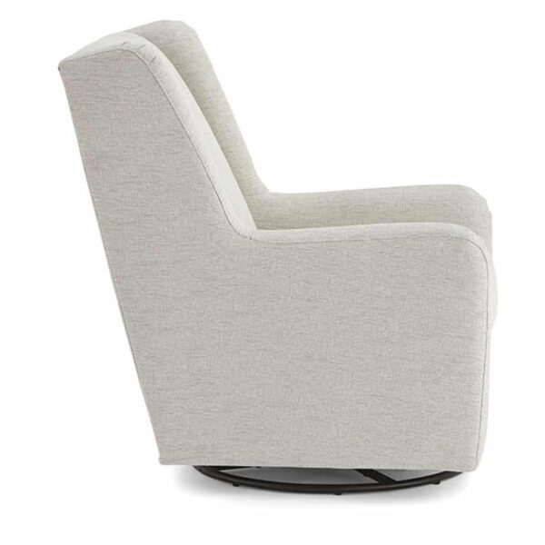 brianna swivel glider chair in light upholstery shown from side angle