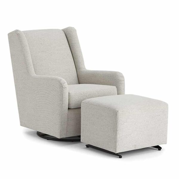brianna swivel glider chair in custom light fabric with ottoman