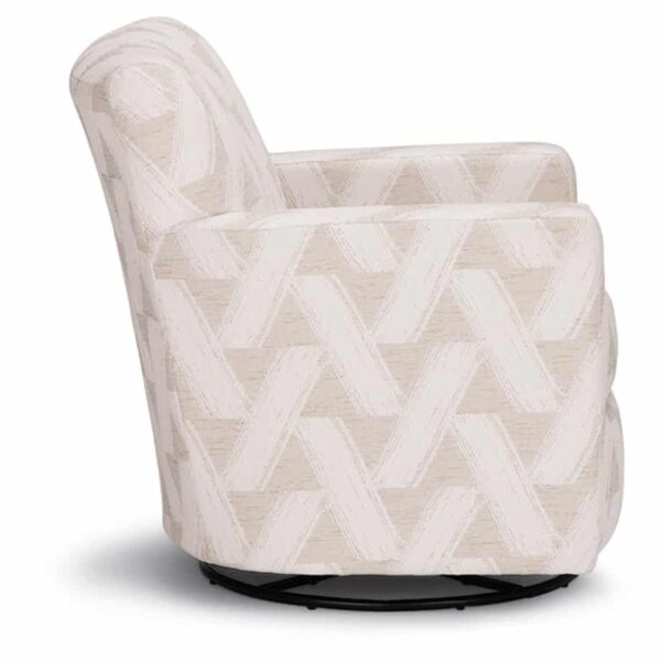 caroly swivel glider in fabric shown at side angle