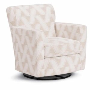 caroly swivel glider with rocking base shown in light modern printed fabric