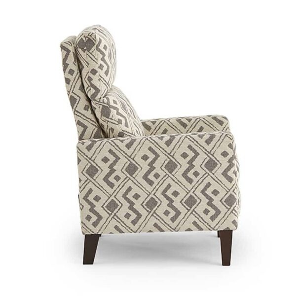 janae recliner in printed fabric shown from side angle