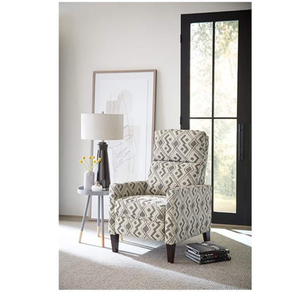 janae recliner with wood feet in room setting in front of window
