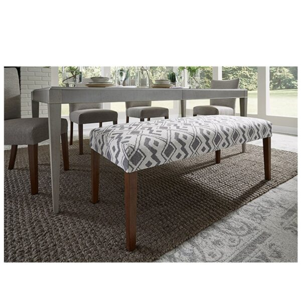 javora bench with upholstered seat shown at dining room table