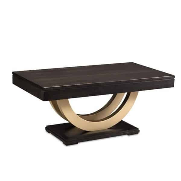 canadian made contempo coffee table with gold metal modern base