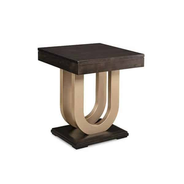contempo end table with gold metal base and dark maple top