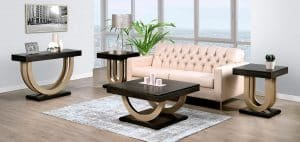 Contempo Metal Sofa Table with gold metal base in room setting