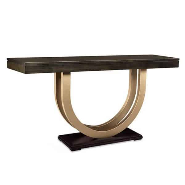 long contempo sofa table with gold metal base