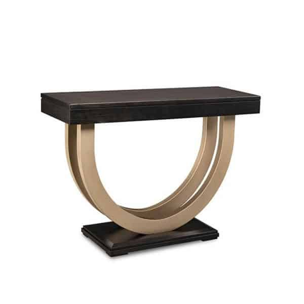 canadian made contempo sofa table with gold metal base in short length