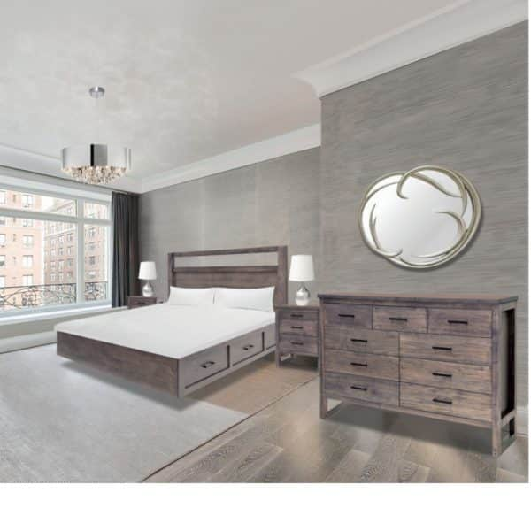 solid wood edgecomb bedroom suite shown in modern room setting