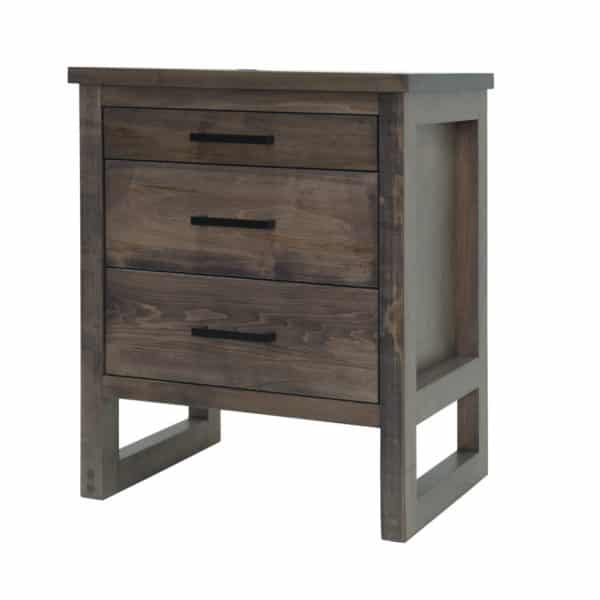 edgecomb night stand with 3 drawers in modern maple wood