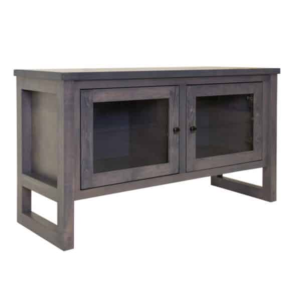 solid wood edgecomb tv console with 2 glass doors in grey finish