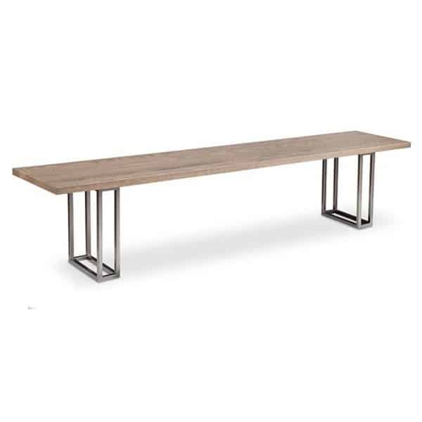 electra bench for dining table with metal base and solid wood top